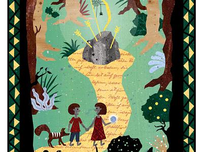 Folktale Week: Path bow and arrow forest woods illustration design fairy tale mythology childrens illustrations illustration art illustration