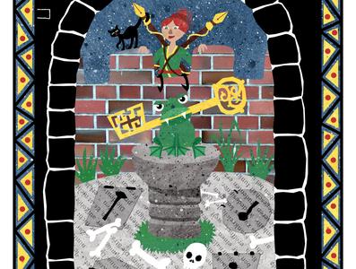 Folktale Week: Key warrior cat frog key tower castle illustration design fairy tale mythology childrens illustrations illustration art illustration