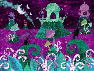 Magical Landscape fantasy art insects landscape fantasy magical illustration design fairy tale green childrens mythology illustrations illustration art illustration