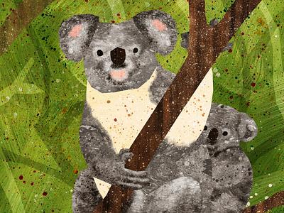 Koala and Baby animals illustrated jungle australia koala animals illustration design green illustrations illustration art illustration