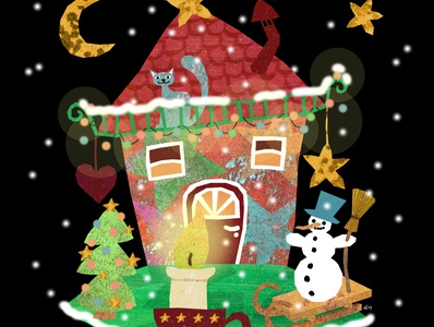 Decorate a House cat stars candle snowman advent house christmas illustration design childrens illustrations illustration art illustration