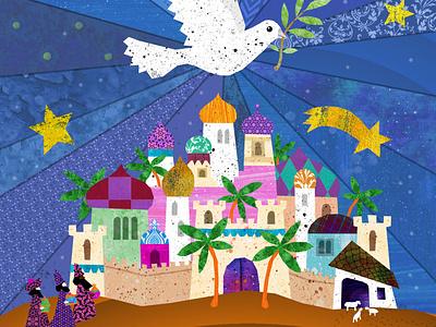 Merry Christmas wise men dove born christ jesus israel bethlehem christmas illustration design mythology illustrations illustration art illustration