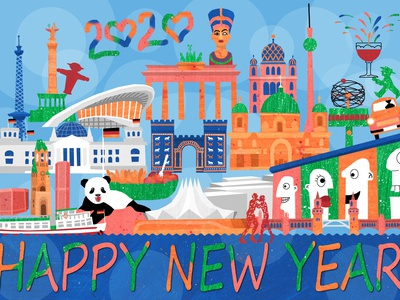 Happy New Year 2020 from Berlin map illustration map city illustration cityscape city 2020 germany happy new year berlin illustration design illustrations illustration art illustration