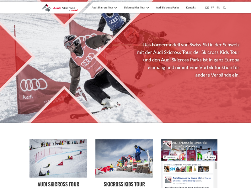 Audiskicross ux design swissski freeski skicross freestyle ski ui ux webdesign