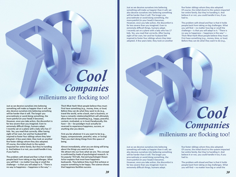 700 Layout ice blue 700 article magazine layout 3d typography street fortune 500 blender 3d digital design graphic design typography