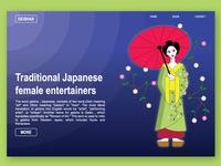 Geisha Illustration with web layout