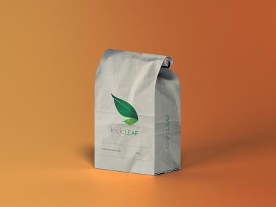 LOGIC LEAF Pouch Bag design by @mkrmStudio branding design logo illustration graphic design