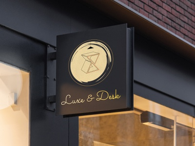Luxe & Desk outdoor sign by @mkrmstudio sign outdoor vector branding illustration design logo graphic design desk luxury luxe