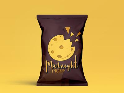 Midnight CRISP chips bag design by @mkrmStudio food snack typography vector branding illustration design graphic design logo crisp midnight