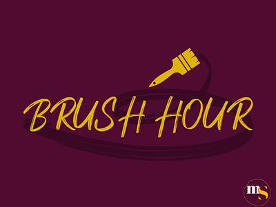 BRUSH HOUR logo design by @mkrmStudio typography vector branding illustration design logo graphic design strokes painting paint hour brush