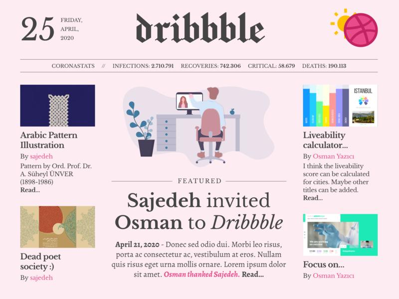 Thanks for invitation... adobe xd newspaper ui newspaper design pink newspaper dribbble invitation invitation