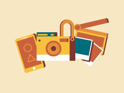 Digital Tools illustration design phone camera pictures film illustration
