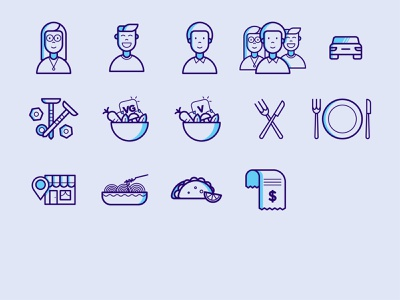 Dining Icons 1 mexican tools vegan vegetarian food and drink receipt money tacos pasta location vegetables spoon fork car people icons people university college dining food
