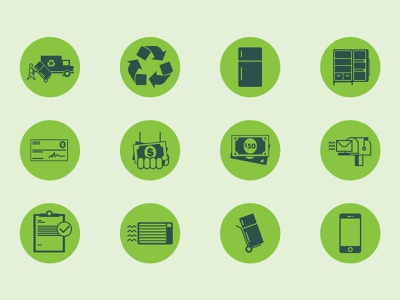 Recycling Icons mailbox check money recycle refrigerator fridge recycling phone icons