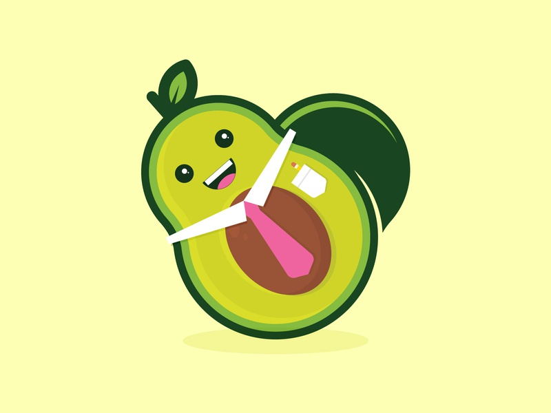Introducing... TAD THE AVOCADO! people business food character illustration avocado