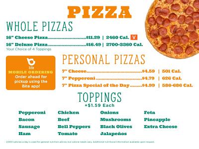 Menu Board 2020 food college print student university dining pizza branding