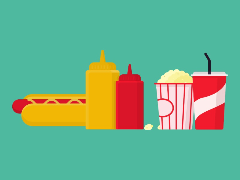 Concession Stand vector print illustrations eat concession stand junk food food ketchup mustard popcorn soda hot dogs