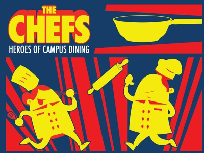 The Chefs Campaign vector logo print illustrations cartoon comic book pop pans pots dining university college food cooking chefs illustration