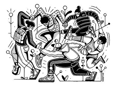The Dance procreate simple backcpack northface adidas originals adidas editorial dance corona covid-19 covid19 coronavirus maldonaut maldo black and white interpretation rebound timelapse thedance illustration