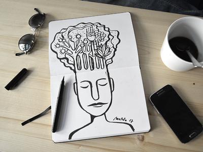Thinking about Nature — Sketchbook tshirt wacom pattern editorial icon blackandwhite simple maldonaut maldo bold minimal illustration