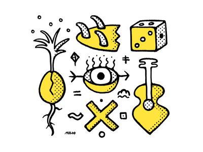 Collage tshirt wacom pattern editorial icon blackandwhite simple maldonaut maldo bold minimal illustration