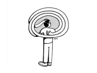 🌳 Lost in thoughts character man wacom pattern editorial icon blackandwhite simple maldonaut maldo minimal illustration