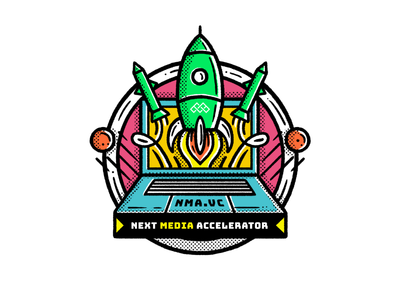 Next Media Accelerator icon rocket coworking startup accelerator pattern editorial simple maldonaut maldo minimal illustration