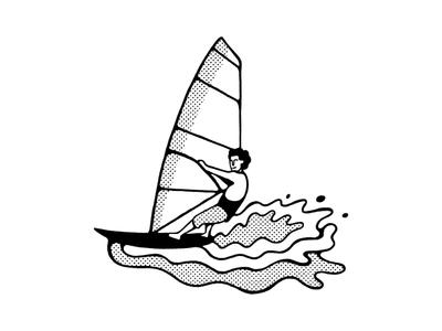 Windsurfer surf vans volcom windsurfing editorial icon blackandwhite simple maldonaut maldo minimal illustration