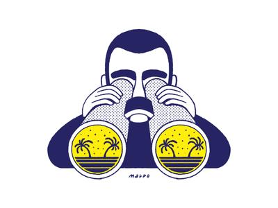 Beach Finder search binoculars sticker beach surf pattern editorial icon maldonaut maldo minimal illustration