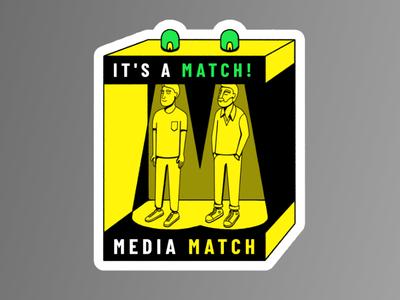 Media Match — Sticker wacom pattern editorial icon blackandwhite simple maldonaut maldo bold minimal illustration