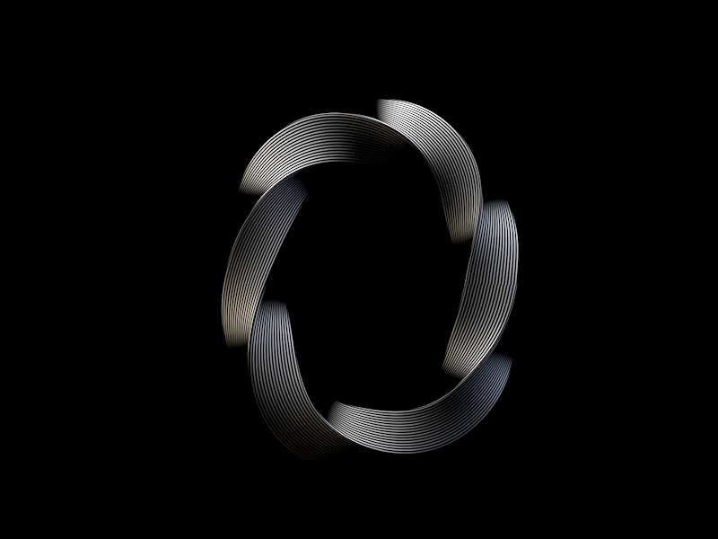 O curved 3d black  white alphabet twisted