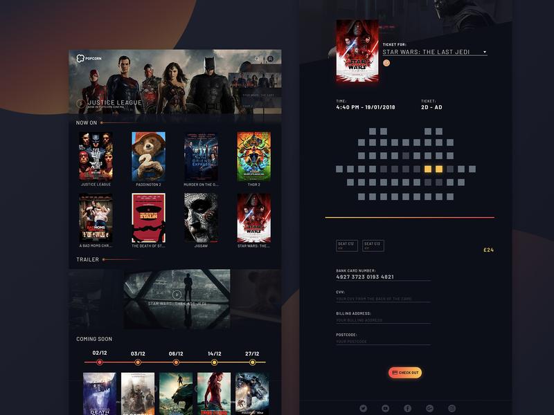 Cinema web design showcase responsive web responsive app website design website ticket booking popcorn ticket film ticket webapp cinema web design web