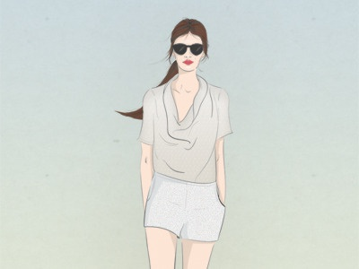 Annii style fashion girl woman illustration fashion illustration femme summer style summer spring shorts sungasses red lips outfit