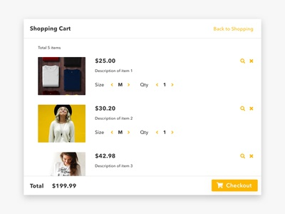 Shopping Cart #dailyui #058 ui dailyui