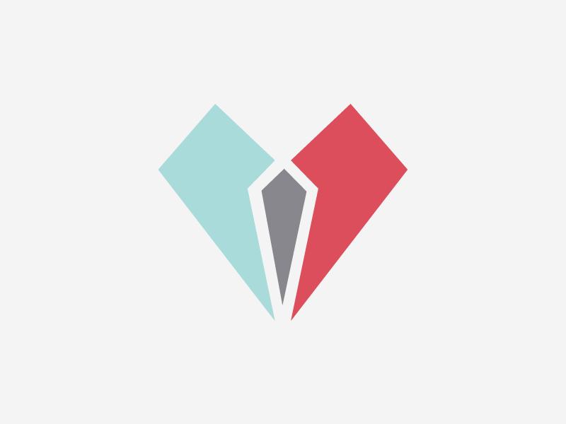 Trust trust logo identity heart flat design