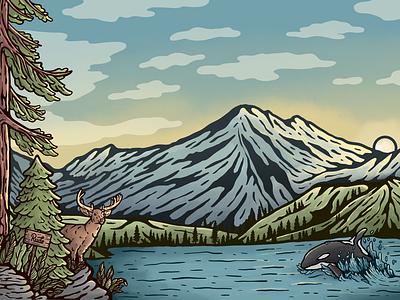 Northwest Scenery seattle washington northwest pnw website illustration landscape procreate ux ui illustration