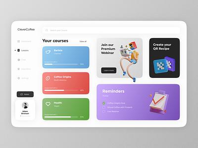 Clever Coffee Web App clever coffee ux ui online platform lessons coffee educational platform platform courses design app web