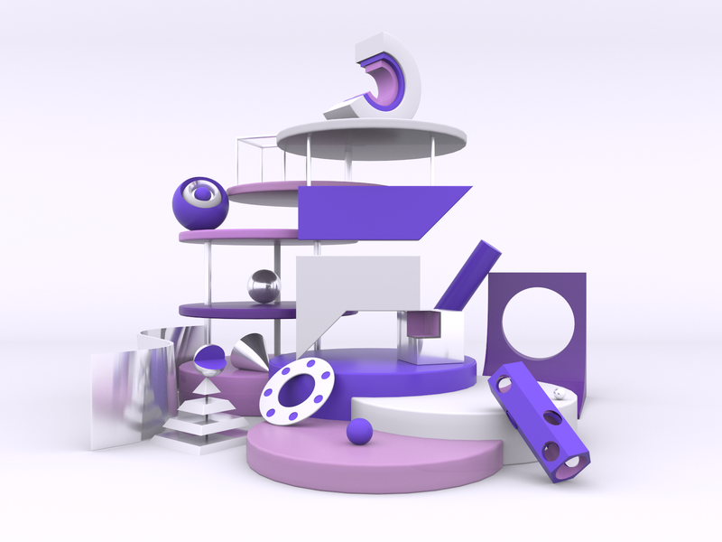 Flair Going 3D illustration ux ui abstract render c4d logo visual identity composition cinema 4d 3d art 3d bright color combinations