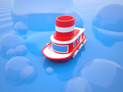 Lil' Tugboat water boat minimal clean design colorful design redshift c4d playful animation 3d art 3d bright color combinations visual identity illustration