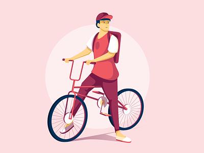 Urban Cyclist ui flat illustration minimal clean design warm colors cycling character design character urban affinity illustration visual identity vector bright color combinations vector art vector illustration