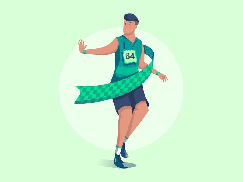 Marathon Man flat illustration ui running affinity sports marathon character exploration character minimal clean design illustrator visual identity vector illustration bright color combinations vector illustration vector art