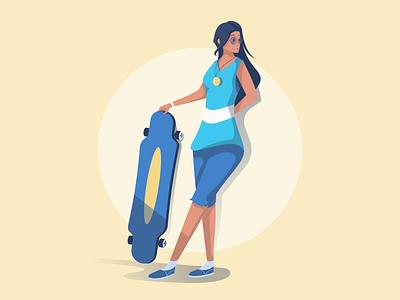 Longboard Girl character design character exploration character longboard ui illustrator affinity visual identity vector illustration bright color combinations vector illustration vector art