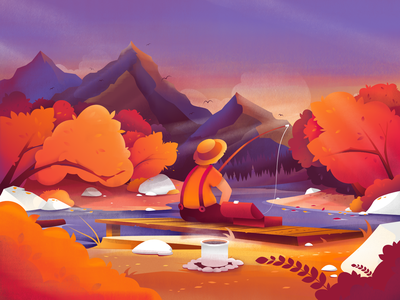 Gone Fishing scenery calming character ui fishing mountains nature pixelart pixel vector art illustrator colorful design affinity bright color combinations illustration