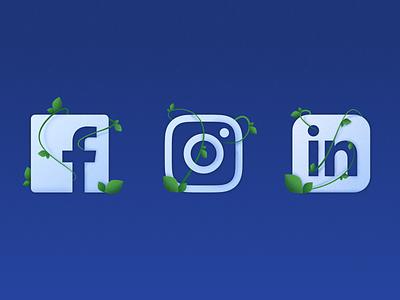 Bud Digital Social Icons social media social ui pixel affinity illustrator visual identity vector vector illustration bright color combinations icons vector art illustration