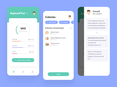 Nutrition Coach App mobile ui ux sport food nutritionist nutritional nutrition diet coach calory calories