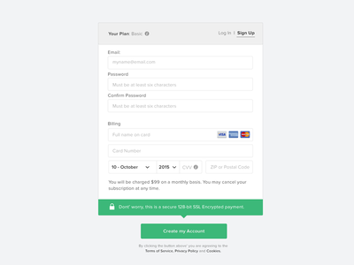 Sign up with credit card dailyui credit card form log in sign up