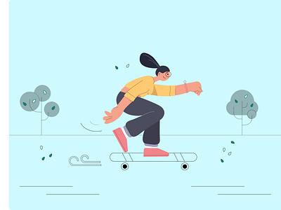 A girl riding ui branding logo flat illustration minimal character graphic design vector illustration design