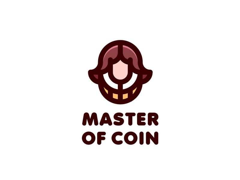 Master of Coin Logo lastspark label mark branding brand illustration logotype logo outline line man fairy tale legend middle ages business head bank money coin master