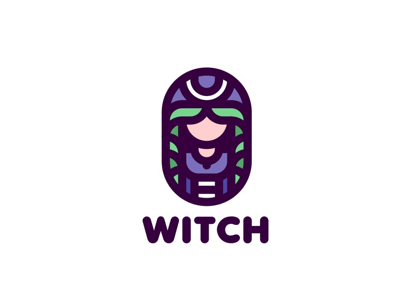 Witch Logo 195 lastspark label mark branding brand illustration logotype logo outline line magic hair mantle hairstyle woman wizard witch