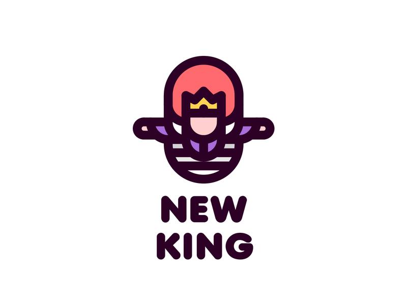 New King Logo 196 branding brand illustration logotype logo outline line win leader winner man legend myth fairy tale middle ages coronation crown victory ladder king